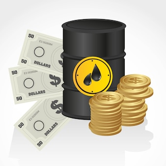Gallon of petroleum with banknote and coins