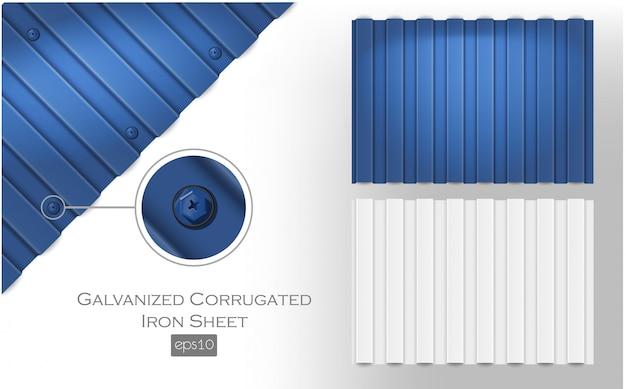 亜鉛メッキの段ボール鉄板、青と白の色。屋根金属タイルスラブ
