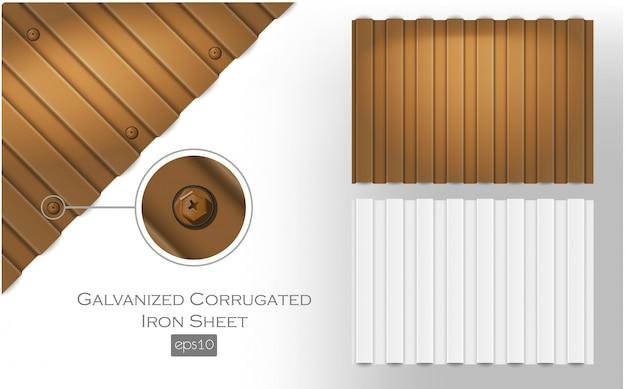 Оцинкованный волнистый лист, коричневого и белого цвета. плиты металлочерепицы для покрытия или ограждения