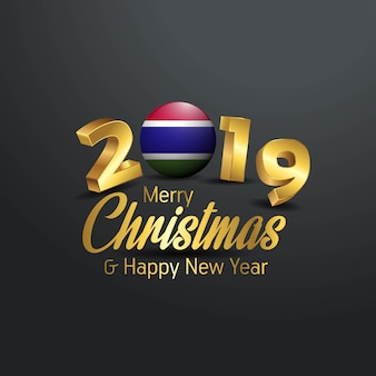 Gambia flag 2019 merry christmas typography