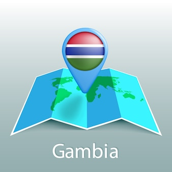 Gambia flag world map in pin with name of country on gray background