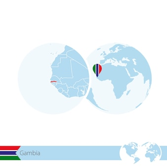 Gambia on world globe with flag and regional map of gambia. vector illustration.
