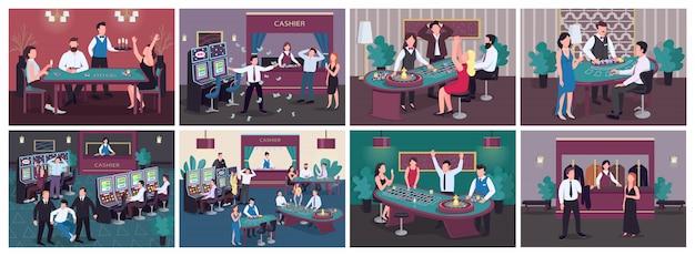 Казино плоские цветные иллюстрации набор. женщина выиграла пари на красный в рулетку. человек получает денежный приз от игрового автомата. роскошное развлекательное заведение. gambler 2d герои мультфильмов в интерьере