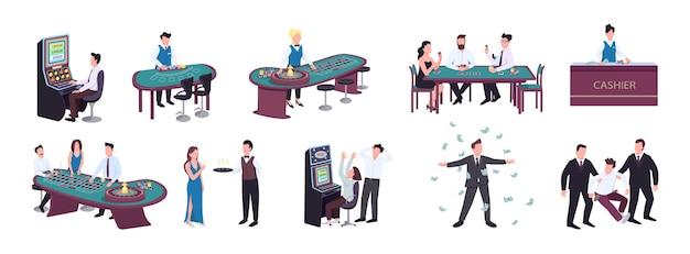 도박꾼 평면 색상 익명 문자 세트