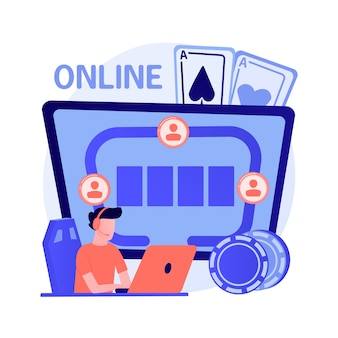 Gambler playing online poker, guy won in internet casino. risky card game, digital gambling, virtual tournament. successful player with good fortune. vector isolated concept metaphor illustration