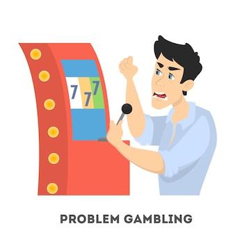 ギャンブル依存症。スロットマシンのカジノで遊んでいる怒っている人。漫画のスタイルのイラスト