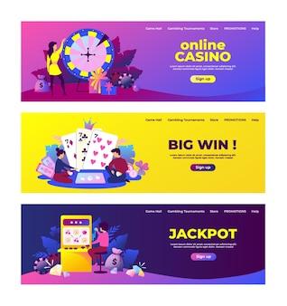 Баннеры азартных игр. игровой автомат для лотереи и бинго и концепция выигрыша призов со счастливыми героями мультфильмов. векторный набор иллюстрации веб-сайт лото баннер