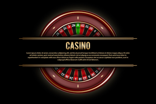 Gambling banners with roulette wheel on dark . casino poster template with golden elements.  illustration