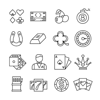 Gambling, casino, poker thin line simple icons