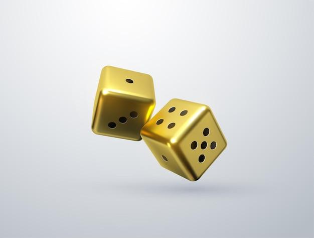 白い背景で隔離の金色のサイコロとギャンブルの概念