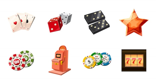 Gambling elements set. cartoon set of gambling