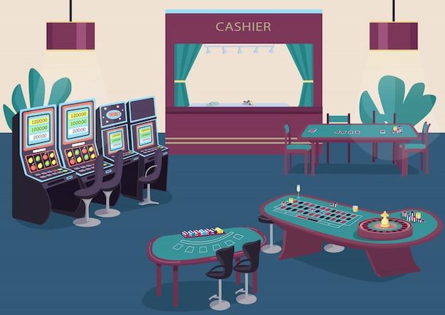 ギャンブルフラットカラーイラスト。スロットマシンとフルーツマシンの列。ポーカーをプレイするための緑のテーブル。ブラックジャックのゲームデスク。カジノルーム2 d漫画インテリアの背景にレジカウンター