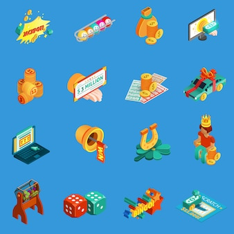 Gambling isometric icons set