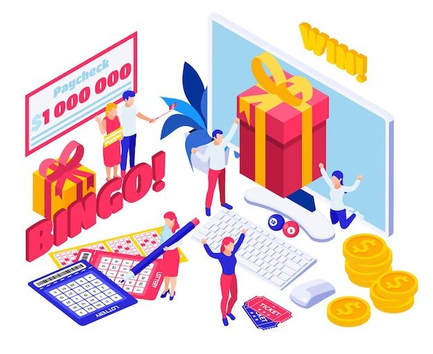 Illustrazione isometrica online di gioco d'azzardo