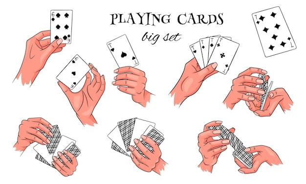 Играть в азартные игры. игральные карты в руке. казино, удача, удача. большой набор. мультяшный стиль. векторная иллюстрация для дизайна и декора.