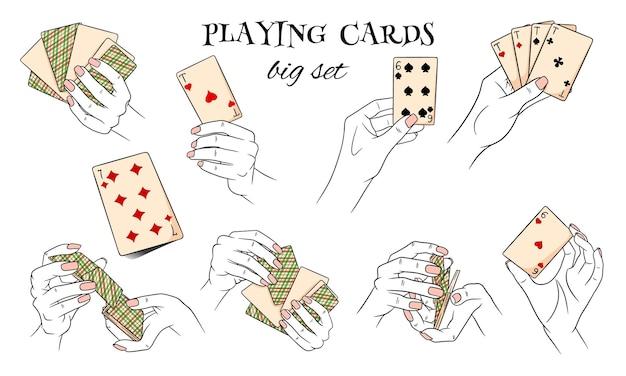 도박. 손에 카드 놀이. 카지노, 재산, 행운. 큰 집합입니다. 만화 스타일입니다. 디자인 및 장식을 위한 벡터 일러스트 레이 션.