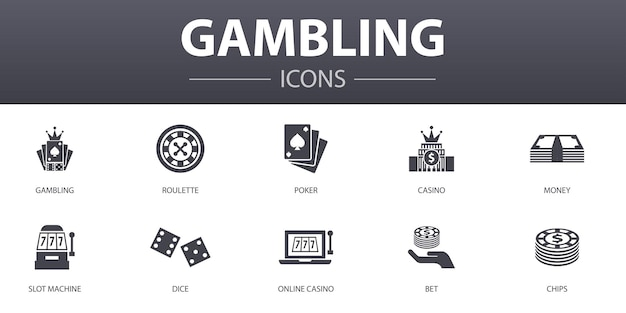 Gambling simple concept icons set. contains such icons as roulette, casino, money, online casino and more, can be used for web, logo, ui/ux