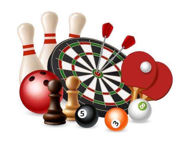 Азартные спортивные игры. боулинг, дартс, шахматы, настольный теннис на белом фоне