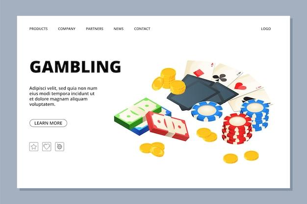 Gambling web page template. casino landing page. illustration gambling game web page