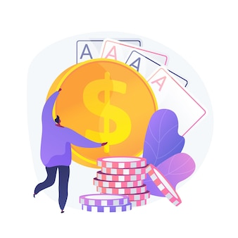 Выигрыши в азартных играх, удача и шанс, джекпот. казино, покер, карточная игра. победитель денег, игрок, персонаж мультфильма карточный игрок. вектор изолированных иллюстрация метафоры концепции.