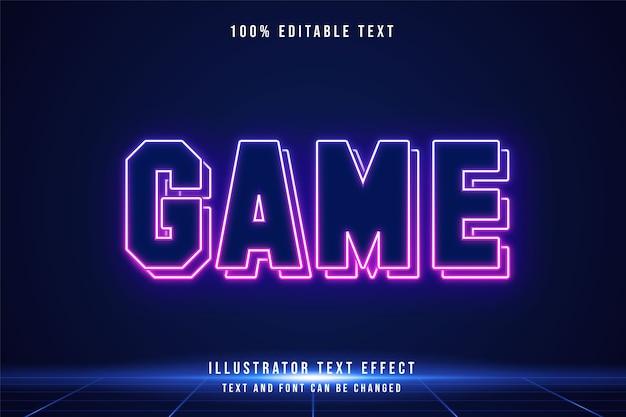 게임, 3d 편집 가능한 텍스트 효과 블루 그라데이션 핑크 현대 미래파 네온 스타일