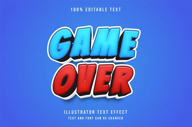 Game over,3d editable text effect blue gradation red modern comic style