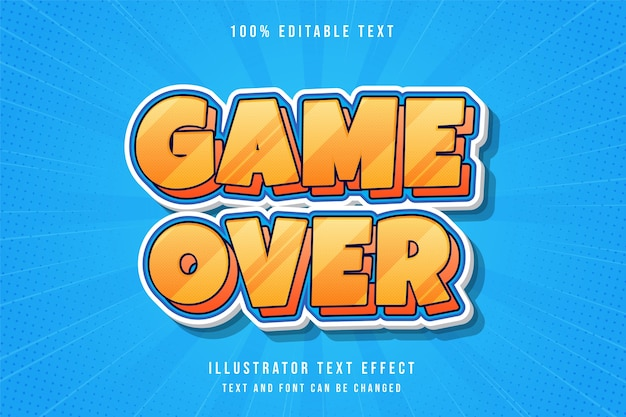Game over, 3d editable text effect.