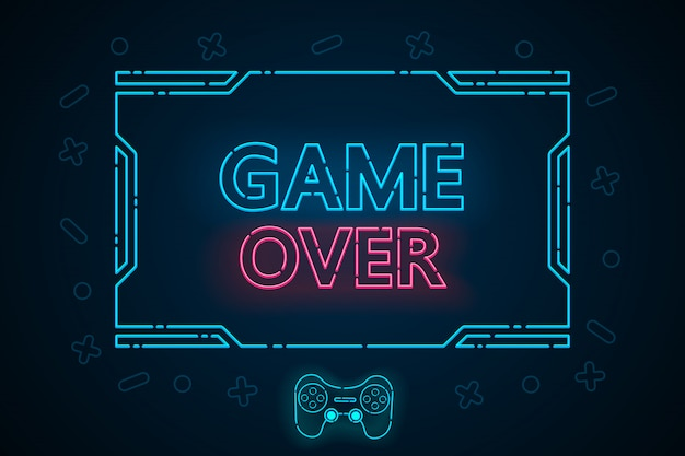 Game over abstract technology interface hud  design for e sports business.