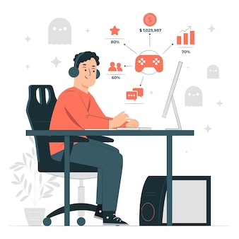 Game analytics concept illustration