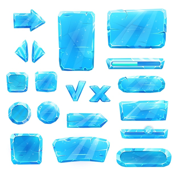 Game asset of blue ice crystal buttons, vector
