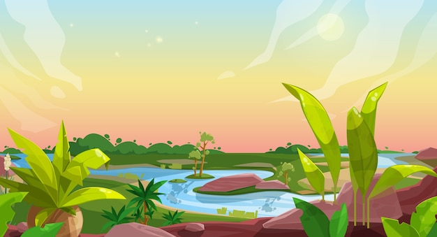 Game background of cartoon nature landscape