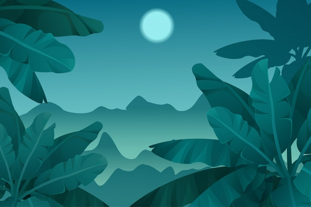 Game background night tropical jungle.