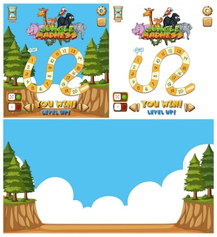 Game background template with numbers and forest scene
