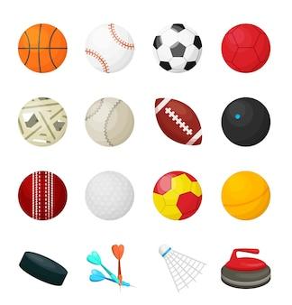 Game balls. flat sport equipment for soccer football basketball hockey baseball games and different