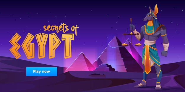 Game banner about secrets of egypt with anubis and pyramids on desert landscape.