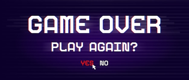 Game over banner for games with glitch effect in pixel style.
