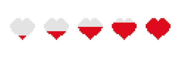 Game bar filling heart. steps of energy storage in empty and gradually full pixel heart.