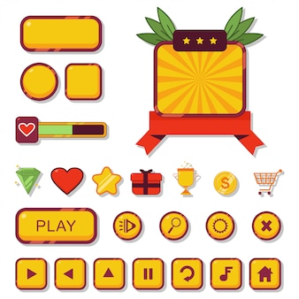 Кнопка игры и пользовательский интерфейс веб-элемент для набора мультфильмов приложения, изолированных на белом фоне.
