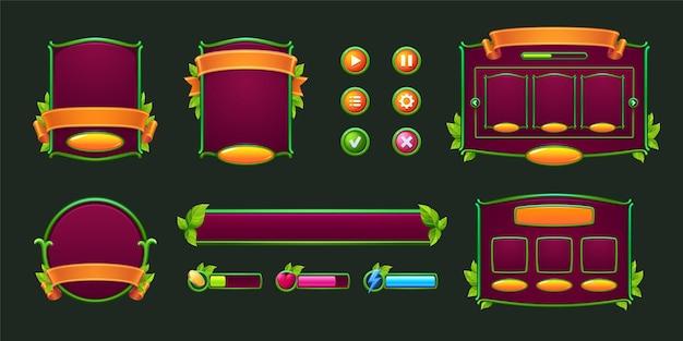 Игровые кнопки и рамки с зелеными рамками и листьями, элементы дизайна и активы с растениями для использования ...
