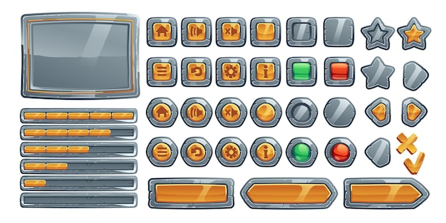 Game buttons, cartoon interface of stone, metal and gold texture.