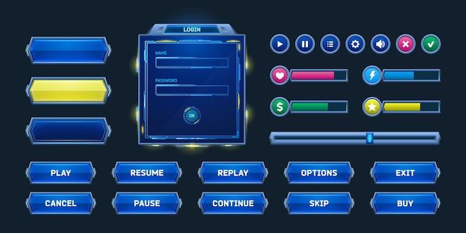 Pulsanti e cornici di gioco nel menu degli elementi di design in stile fantascientifico e delle risorse per il vettore dell'interfaccia utente...