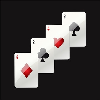 게임 카드-검은 배경에 현대 벡터 현실적인 격리 된 클립 아트 그림. 포커 에이스. 하트, 클럽, 스페이드, 다이아몬드. 카지노, 도박, 행운, 재산 개념