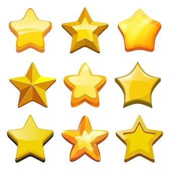 Игра мультипликационных звезд. кристаллические золотые иконки кнопок и строка состояния мобильного игрового шаблона