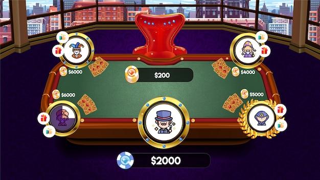 ゲームui用のチップとカードを備えたゲームカジノポーカーテーブル