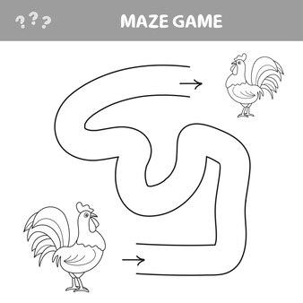 ゲームチキン迷路はお互いに道を見つける-コックオンドリ鳥。