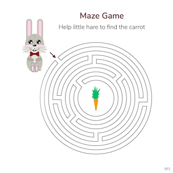 Game for children. circular maze or labyrinth for kids.
