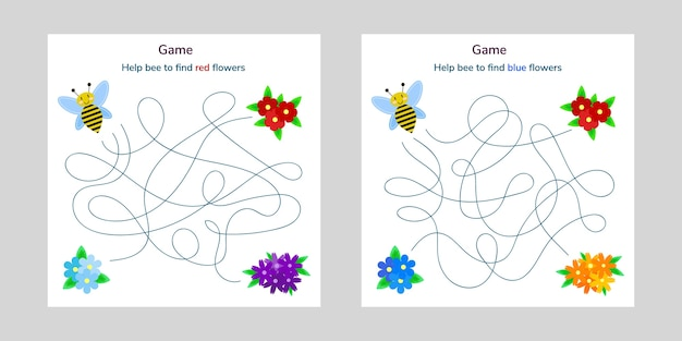Game for children. maze or labyrinth for kids. cartoon cute bee and flower. tangled road.