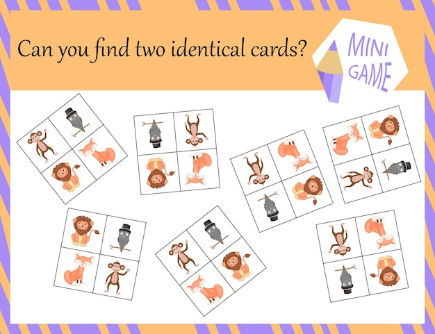 Game for children to search for identical pictures. cartoon style. vector illustration.