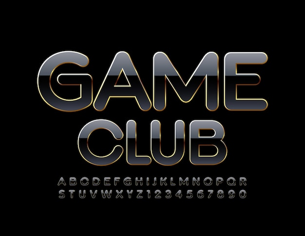 Game club glossy black and gold elegant modern alphabet letters and numbers set