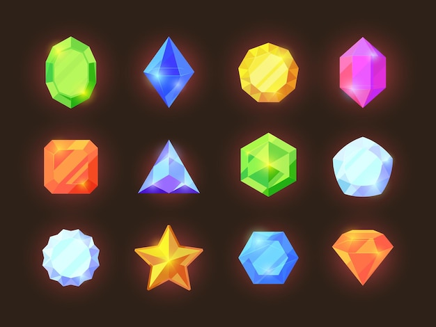 Game color crystals set. shiny jewelry of various geometric shapes blue diamonds orange sapphires green emeralds graphic game treasure vibrant for user rich mobile interface.